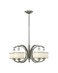 Elstead Lighting Hinkley Monaco 5 Light Chandelier In Brushed Nickel Finish With Height Adjustable Rods