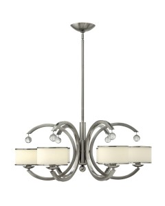 Elstead Lighting Hinkley Monaco 6 Light Chandelier In Brushed Nickel Finish With Height Adjustable Rods
