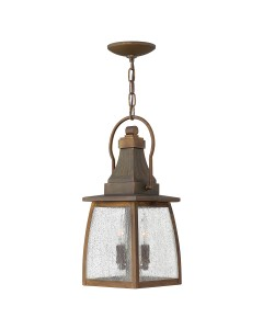 Elstead Lighting Hinkley Montauk 2 Light Outdoor Chain Lantern In Sienna Finish