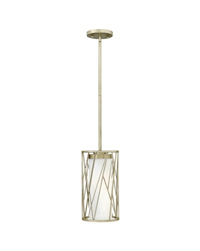 Elstead Lighting Hinkley Nest 1 Light Pendant In Silver Leaf Finish With Height Adjustable Rods