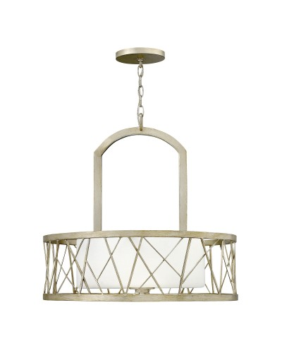 Elstead Lighting Hinkley Nest 3 Light Pendant In Silver Leaf Finish With Etched Glass Shade