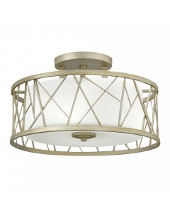 Elstead Lighting Hinkley Nest 3 Light Semi-Flush Ceiling Light In Silver Leaf Finish With Etched Glass Shade