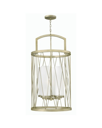 Elstead Lighting Hinkley Nest 4 Light Large Pendant In Silver Leaf Finish With Etched Glass Shades