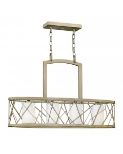 Elstead Lighting Hinkley Nest 4 Light Oval Island Chandelier In Silver Leaf Finish With Etched Glass Shades