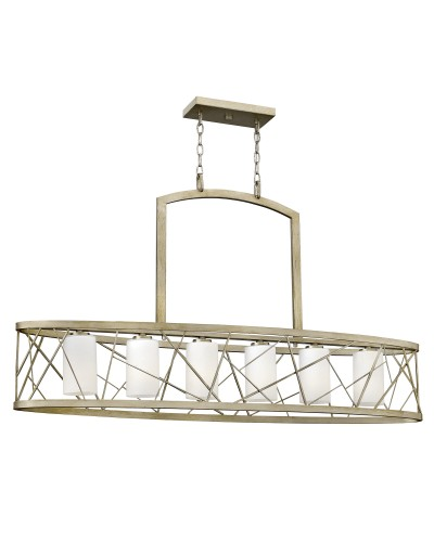 Elstead Lighting Hinkley Nest 6 Light Oval Island Chandelier In Silver Leaf Finish With Etched Glass Shades