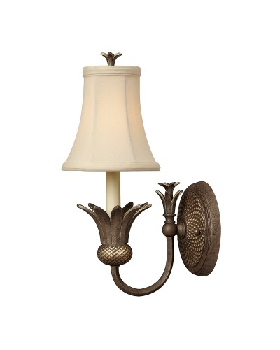 Elstead Lighting Hinkley Plantation 1 Light Wall Light In Pearl Bronze Finish With Ivory Fabric Shade