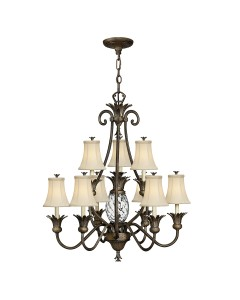 Elstead Lighting Hinkley Plantation 10 Light Two Tier Chandelier In Pearl Bronze Finish With Ivory Fabric Shades