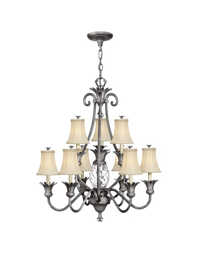 Elstead Lighting Hinkley Plantation 10 Light Two Tier Chandelier In Polished Antique Nickel Finish With Ivory Fabric Shades