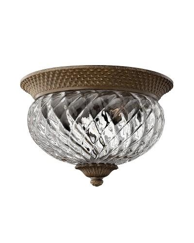 Elstead Lighting Hinkley Plantation 2 Light Small Flush Ceiling Light In Pearl Bronze Finish