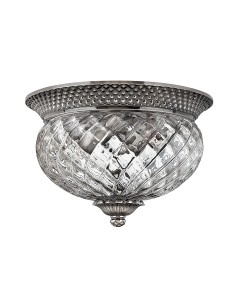 Elstead Lighting Hinkley Plantation 2 Light Small Flush Ceiling Light In Polished Antique Nickel Finish