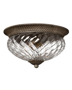 Elstead Lighting Hinkley Plantation 3 Light Large Flush Ceiling Light In Pearl Bronze Finish