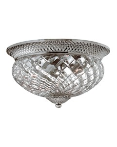 Elstead Lighting Hinkley Plantation 3 Light Large Flush Ceiling Light In Polished Antique Nickel Finish