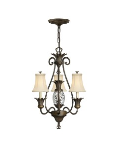 Elstead Lighting Hinkley Plantation 4 Light Chandelier In Pearl Bronze Finish With Ivory Fabric Shades