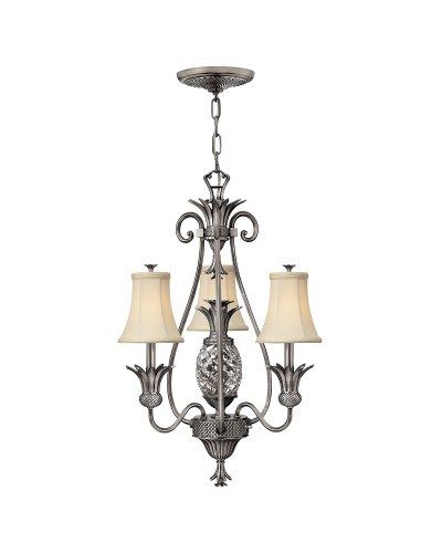 Elstead Lighting Hinkley Plantation 4 Light Chandelier In Polished Antique Nickel Finish With Ivory Fabric Shades