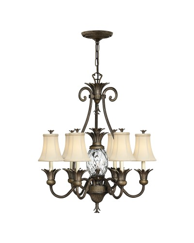 Elstead Lighting Hinkley Plantation 7 Light Chandelier In Pearl Bronze Finish With Ivory Fabric Shades