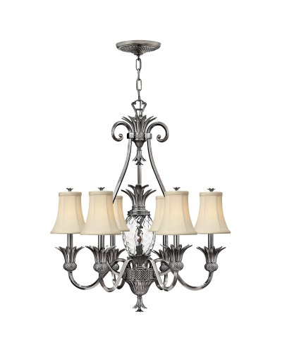 Elstead Lighting Hinkley Plantation 7 Light Chandelier In Polished Antique Nickel Finish With Ivory Fabric Shades