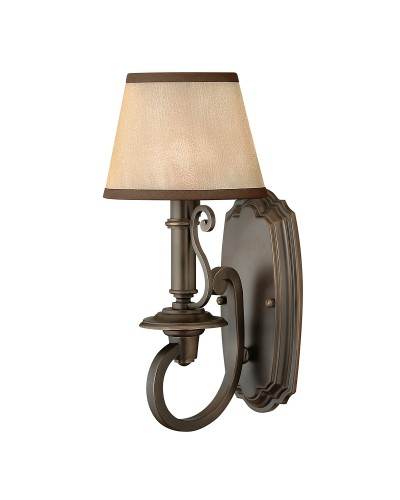 Elstead Lighting Hinkley Plymouth 1 Light Wall Light In Old Bronze Finish With Light Amber Organza Shade