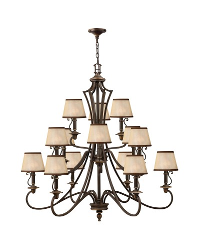 Elstead Lighting Hinkley Plymouth 15 Light Chandelier In Old Bronze Finish With Light Amber Organza Shades