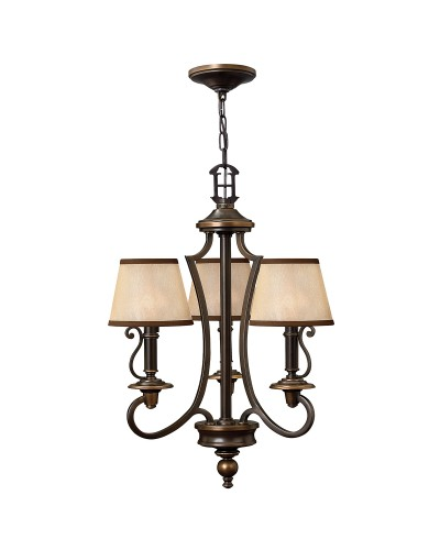 Elstead Lighting Hinkley Plymouth 3 Light Chandelier In Old Bronze Finish With Light Amber Organza Shades