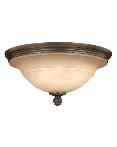 Elstead Lighting Hinkley Plymouth 3 Light Flush Ceiling Light In Old Bronze Finish