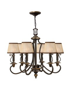 Elstead Lighting Hinkley Plymouth 6 Light Chandelier In Old Bronze Finish With Light Amber Organza Shades