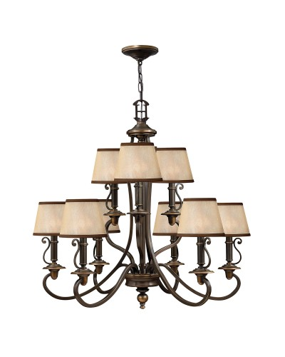 Elstead Lighting Hinkley Plymouth 9 Light Chandelier In Old Bronze Finish With Light Amber Organza Shades
