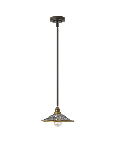 Elstead Lighting Hinkley Rigby 1 Light Pendant In Buckeye Bronze Finish With Height Adjustable Rods