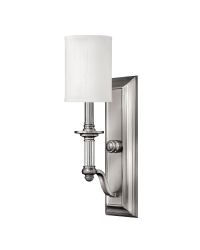 Elstead Lighting Hinkley Sussex 1 Light Wall Light In Brushed Nickel Finish With White Fabric Shade