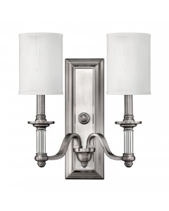 Elstead Lighting Hinkley Sussex 2 Light Wall Light In Brushed Nickel Finish With White Fabric Shades
