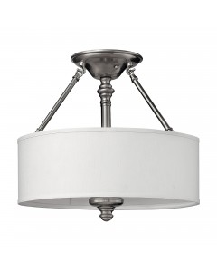 Elstead Lighting Hinkley Sussex 3 Light Semi-Flush Ceiling Light In Brushed Nickel Finish With White Fabric Shade