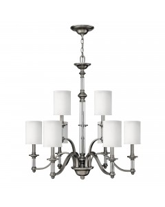 Elstead Lighting Hinkley Sussex 9 Light Chandelier In Brushed Nickel Finish With White Fabric Shades