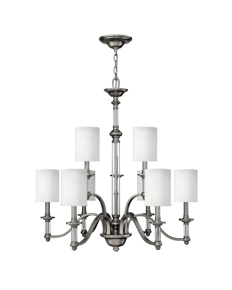 Elstead Lighting Hinkley Sus 9 Light Chandelier In Brushed Nickel Finish With White Fabric Shades