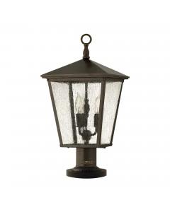 Elstead Lighting Hinkley Trellis 3 Light Outdoor Pedestal Lantern In Regency Bronze Finish