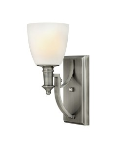 Elstead Lighting Hinkley Truman 1 Light Wall Light In Antique Nickel Finish With Etched Opal Glass Shade