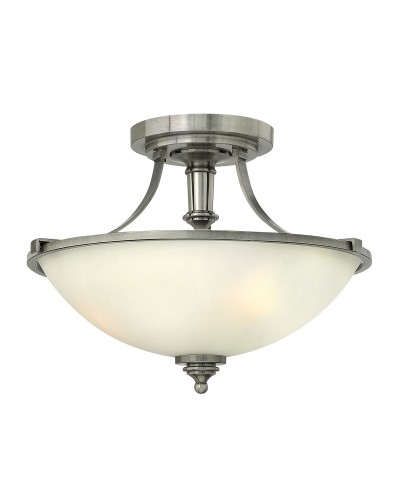 Elstead Lighting Hinkley Truman 2 Light Semi-Flush Ceiling Light In Antique Nickel Finish With Etched Opal Glass Shade