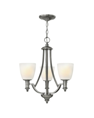 Elstead Lighting Hinkley Truman 3 Light Chandelier In Antique Nickel Finish With Etched Opal Glass Shades