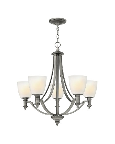 Elstead Lighting Hinkley Truman 5 Light Chandelier In Antique Nickel Finish With Etched Opal Glass Shades