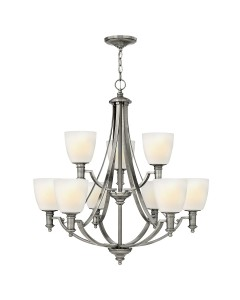 Elstead Lighting Hinkley Truman 9 Light Chandelier In Antique Nickel Finish With Etched Opal Glass Shades