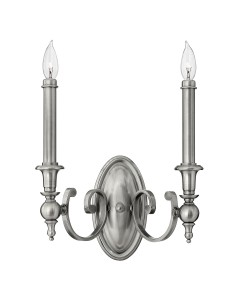 Elstead Lighting Hinkley Yorktown 2 Light Wall Light In Antique Nickel Finish With Both Antique Nickel And Off-White Candle Sleeves