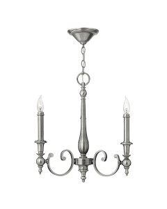 Elstead Lighting Hinkley Yorktown 3 Light Chandelier In Antique Nickel Finish With Both Antique Nickel And Off-White Candle Sleeves