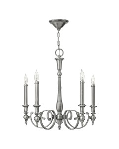 Elstead Lighting Hinkley Yorktown 5 Light Chandelier In Antique Nickel Finish With Both Antique Nickel And Off-White Candle Sleeves