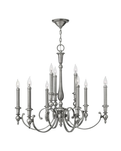 Elstead Lighting Hinkley Yorktown 9 Light Chandelier In Antique Nickel Finish With Both Antique Nickel And Off-White Candle Sleeves