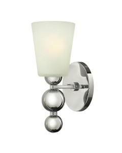 Elstead Lighting Hinkley Zelda 1 Light Wall Light In Polished Nickel Finish With Frosted Shade