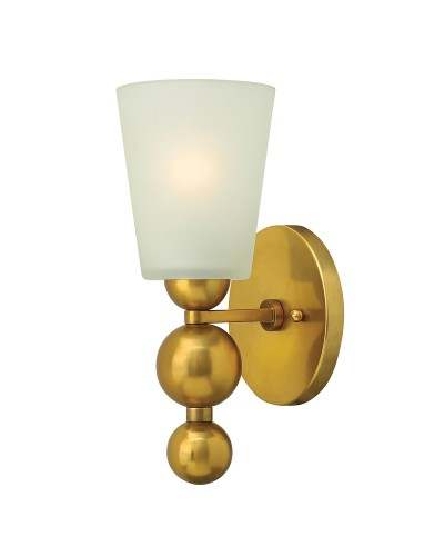 Elstead Lighting Hinkley Zelda 1 Light Wall Light In Vintage Brass Finish With Frosted Shade