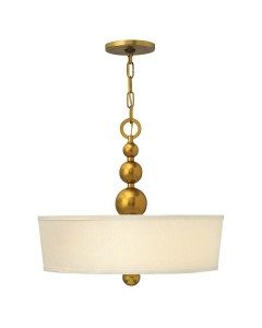 Elstead Lighting Hinkley Zelda 3 Light Large Pendant In Vintage Brass Finish