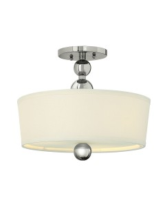 Elstead Lighting Hinkley Zelda 3 Light Semi-Flush Ceiling Light In Polished Nickel Finish