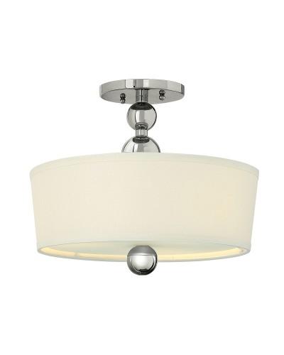 Elstead Lighting Hinkley Zelda 3 Light Semi-Flush Ceiling Light In Polished Nickel Finish