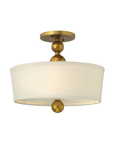 Elstead Lighting Hinkley Zelda 3 Light Semi-Flush Ceiling Light In Vintage Brass Finish