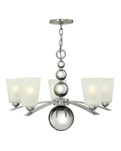 Elstead Lighting Hinkley Zelda 5 Light Chandelier In Polished Nickel Finish With Frosted Shades