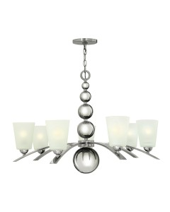 Elstead Lighting Hinkley Zelda 7 Light Chandelier In Polished Nickel Finish With Frosted Shades